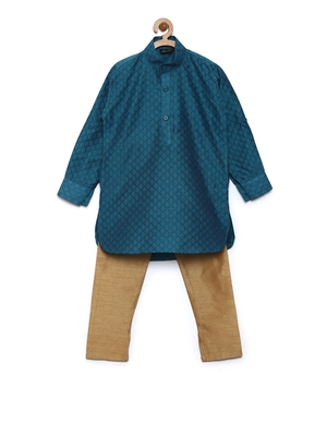 Green woven cotton poly boys-kurta-pyjama