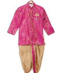 Pink woven brocade boys-dhoti-kurta