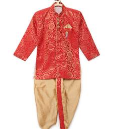 Red woven brocade boys-dhoti-kurta