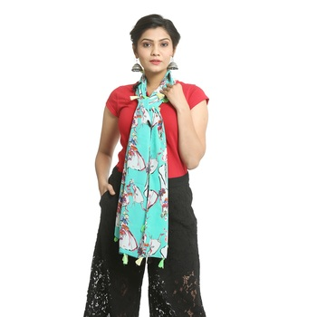Turquoise self design georgette stole and dupattas