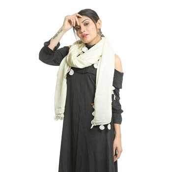 White self design rayon stole and dupattas