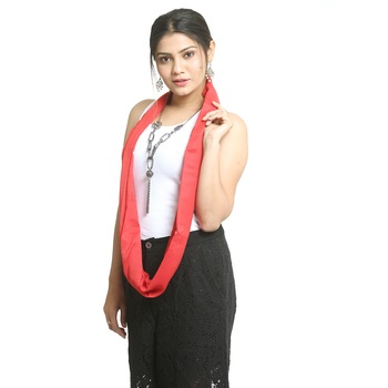 Red self design nylon stole and dupattas