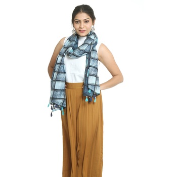 Multicolor self design viscose stole and dupattas