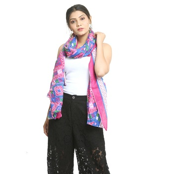 Multicolor self design cotton stole and dupattas