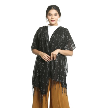 Black self design nylon stole and dupattas