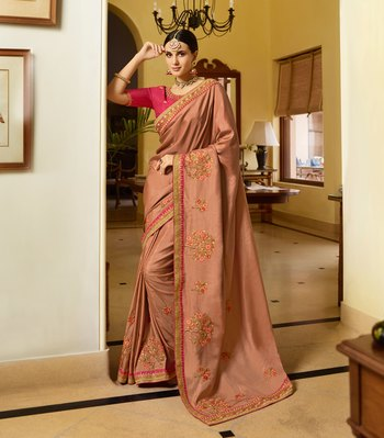 Rust Embroidered Art Silk Saree With Blouse