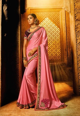 Pink plain faux fabric saree with blouse