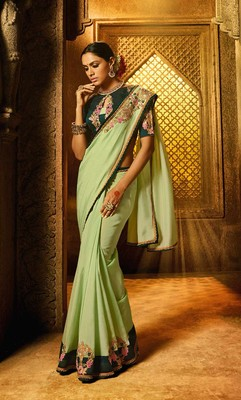 Green plain faux fabric saree with blouse
