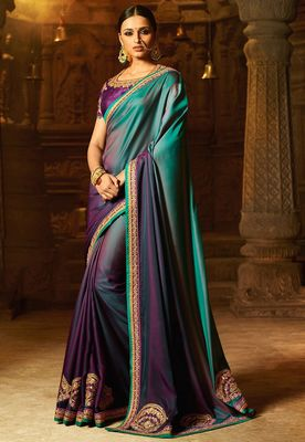 Purple plain faux fabric saree with blouse