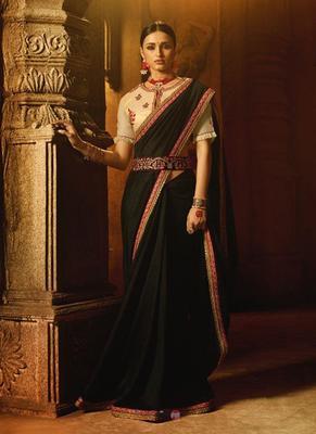 Black plain faux fabric saree with blouse