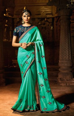 Sky blue plain faux fabric saree with blouse