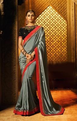 Sky blue plain faux fabric saree with blouse