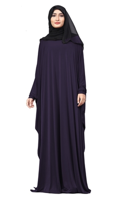 Navyblue Color Plain Free Size Arabic Lycra Abaya With Chiffon Hijab Scarf For Women