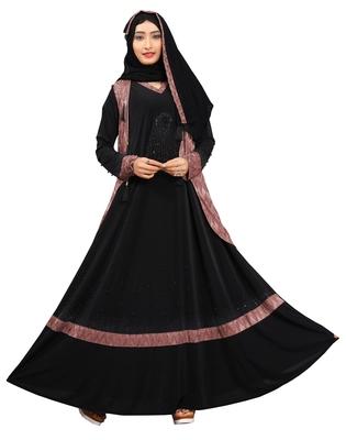 Women'S Violet Color Lycra Abaya Burkha With Jacket And Chiffon Dupatta
