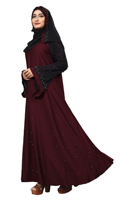 Darkviolet Color Imported Lycra Abaya Burkha With Hijab Scarf For Women