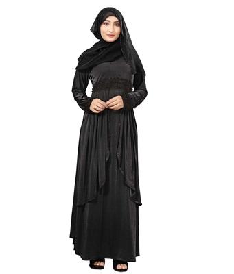 Black Color Women's Lycra Abaya Burkha With Hijab Dupatta