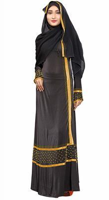 Women'S Plain Black Color Golden Satin Lace Work Abaya Burkha
