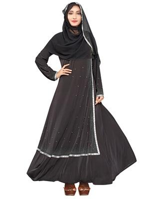 Women'S Black Color Plain Anarkali Lycra Abaya Burkha