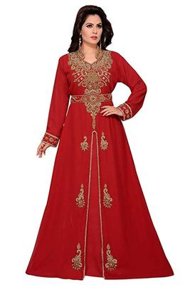 Red Georgette Embroidered Zari Work Islamic Kaftans