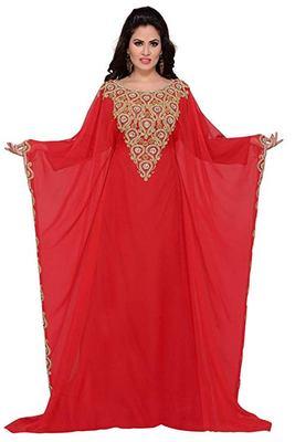 Red Georgette Embroidered Zari Work Islamic Kaftans