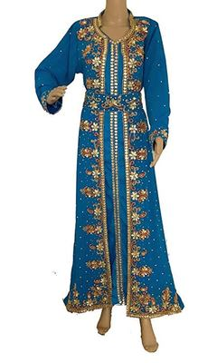 Turquoise Georgette Embroidered Zari Work Islamic Kaftans