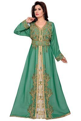 Green Georgette Embroidered Zari Work Islamic Kaftans