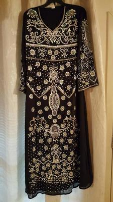brown georgette embroidered zari work islamic kaftans