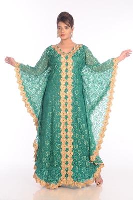Green net embroidered zari work islamic kaftans