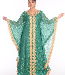 Green net embroidered zari work islamic kaftans