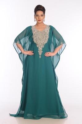 Teal Georgette Embroidered Zari Work Islamic Kaftans