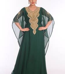 Green Georgette Embroidered Zari Work Islamic Kaftans
