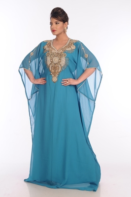 Blue Georgette Embroidered Zari Work Islamic Kaftans