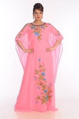 Baby Pink Georgette Embroidered Zari Work Islamic Kaftans