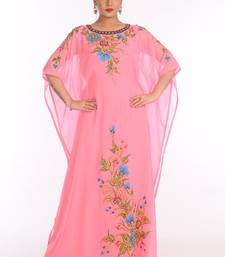 Baby Pink Georgette Embroidered Zari Work Islamic Kaftans