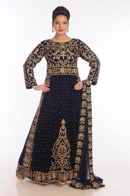 Navy Blue Velvet Embroidered Zari Work Islamic Kaftans