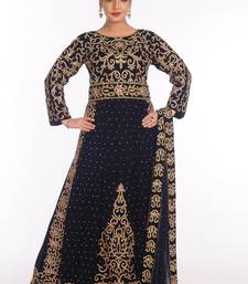 Navy blue velvet embroidered zari work islamic kaftans