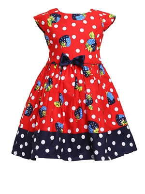 Red Printed Cotton Kids-Frocks