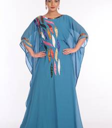 Sky Blue Georgette Embroidered Zari Work Islamic Kaftans