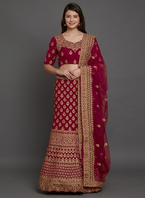 Wine embroidered  velvet semi stitched lehenga with dupatta