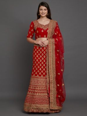 Red embroidered  velvet semi stitched lehenga with dupatta