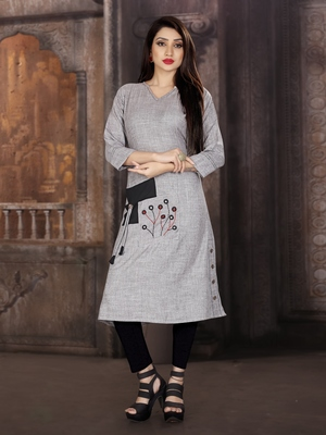 Grey embroidered viscose rayon kurti
