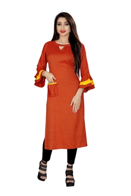 Red plain viscose rayon kurti