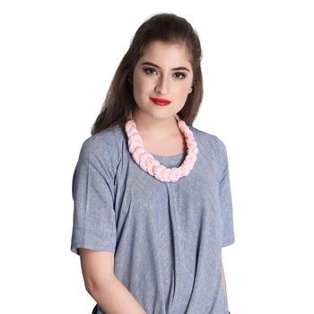 Caressa By Zenitex Baby Pink Cotton Lycra Necklace
