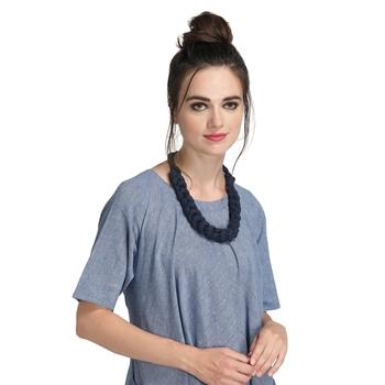 Caressa By Zenitex Dark Blue Cotton Lycra Necklace