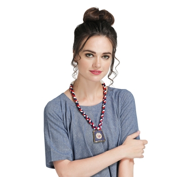 Caressa By Zenitex Multicolour Yarn Necklace With Blue Metal Pendant