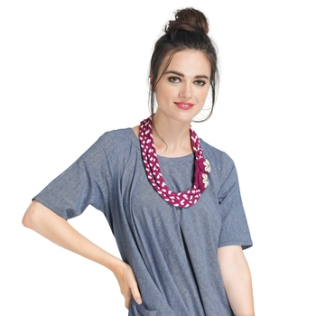 Caressa By Zenitex Magenta Cotton Lycra Coiled Necklace With Braided Shell Buttons