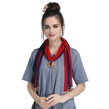 Caressa By Zenitex Red And Blue Yarn Necklace With Silver Pendant And Colourful Beads