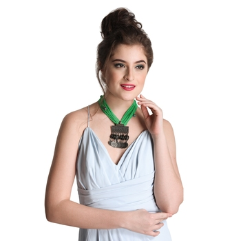 Caressa By Zenitex Green Georgette Necklace With Metal Pendant