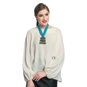 Caressa By Zenitex Sky Blue Georgette Necklace With Metal Pendant