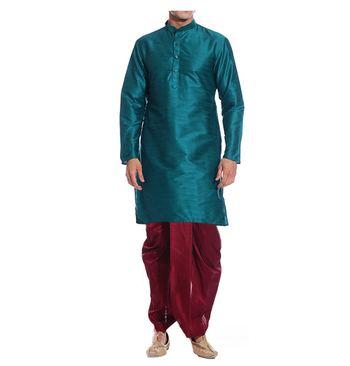 Green Plain Raw Silk Dhoti Kurta